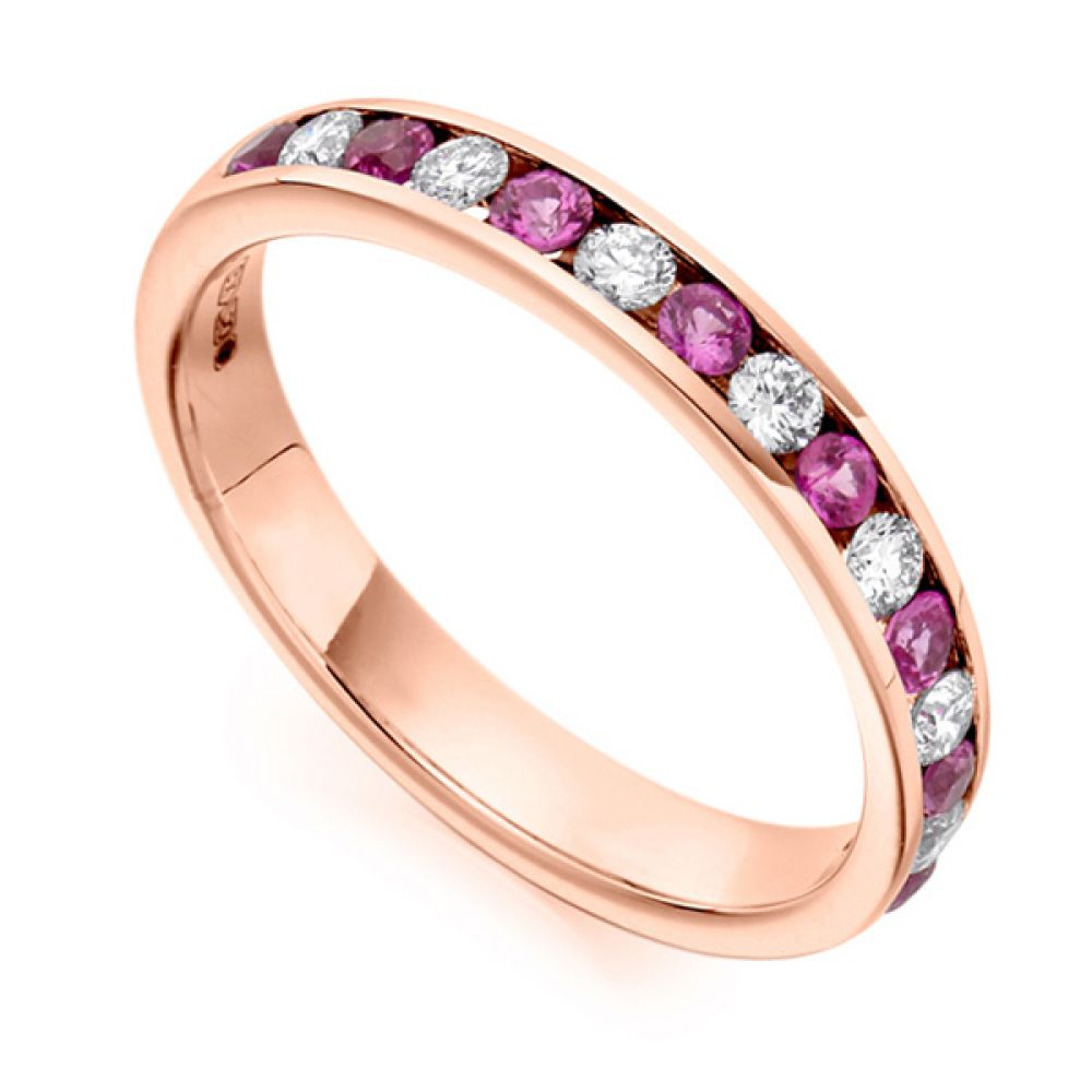0.27cts Round Diamond & Pink Sapphire Half Eternity Ring In Rose Gold