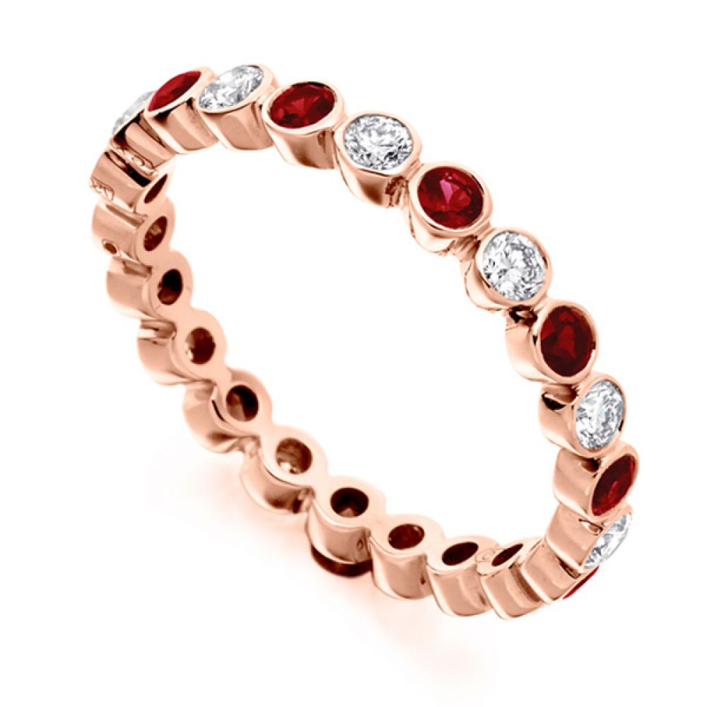 0.51ct Bezel Set Diamond and Ruby Full Eternity Ring In Rose Gold