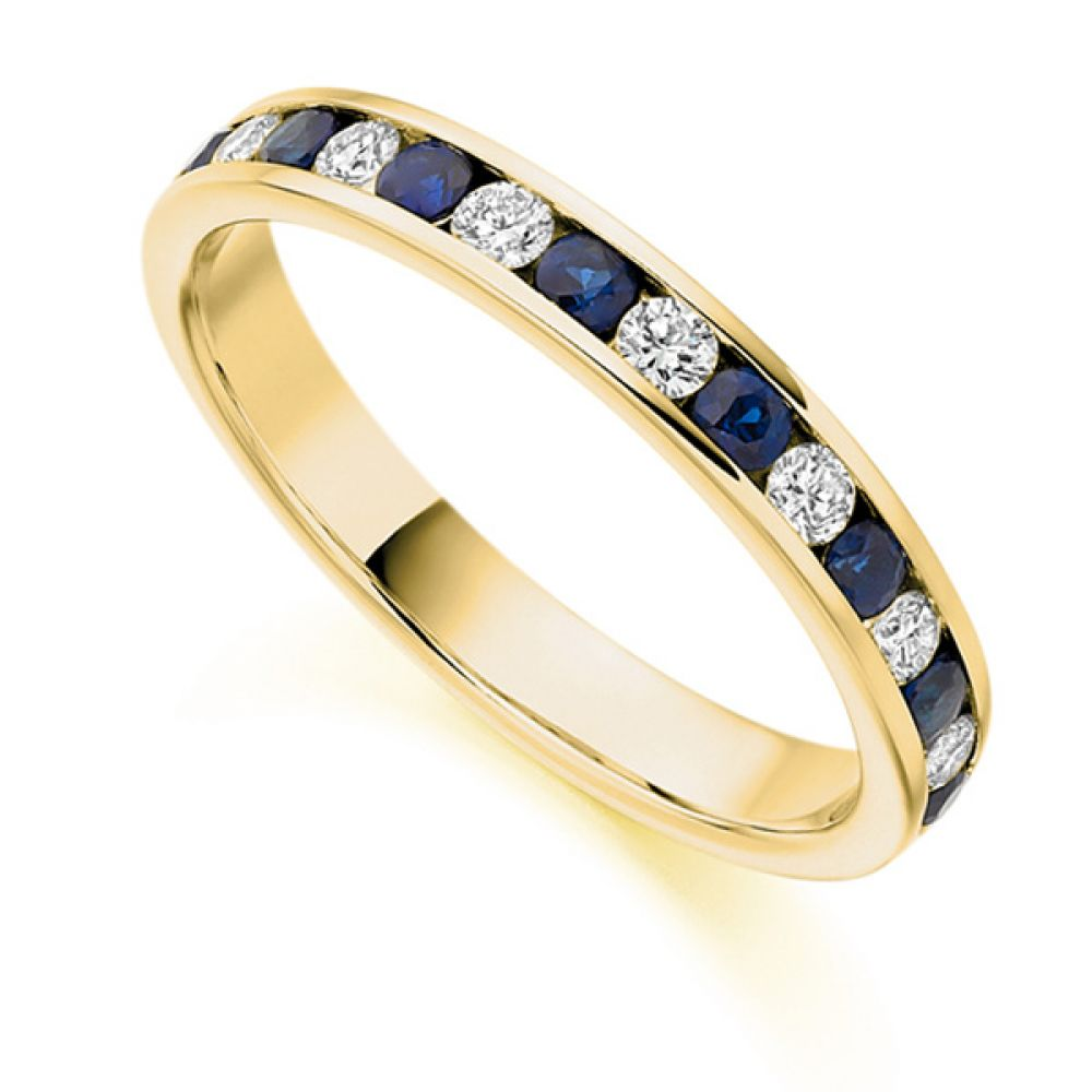 0.27cts Diamond & Blue Sapphire Half Eternity Ring In Yellow Gold