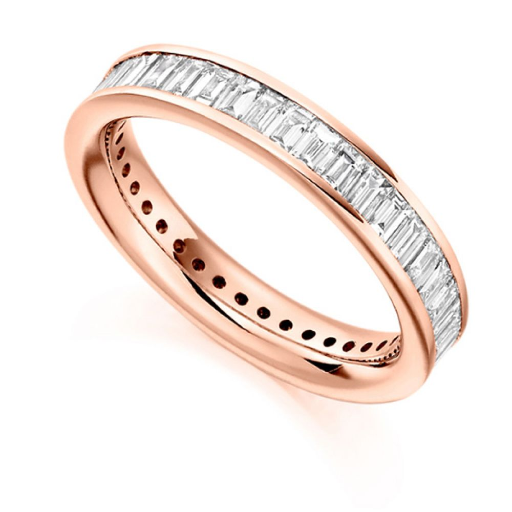 2 Carat Cross Set Baguette Diamond Full Eternity Ring In Rose Gold