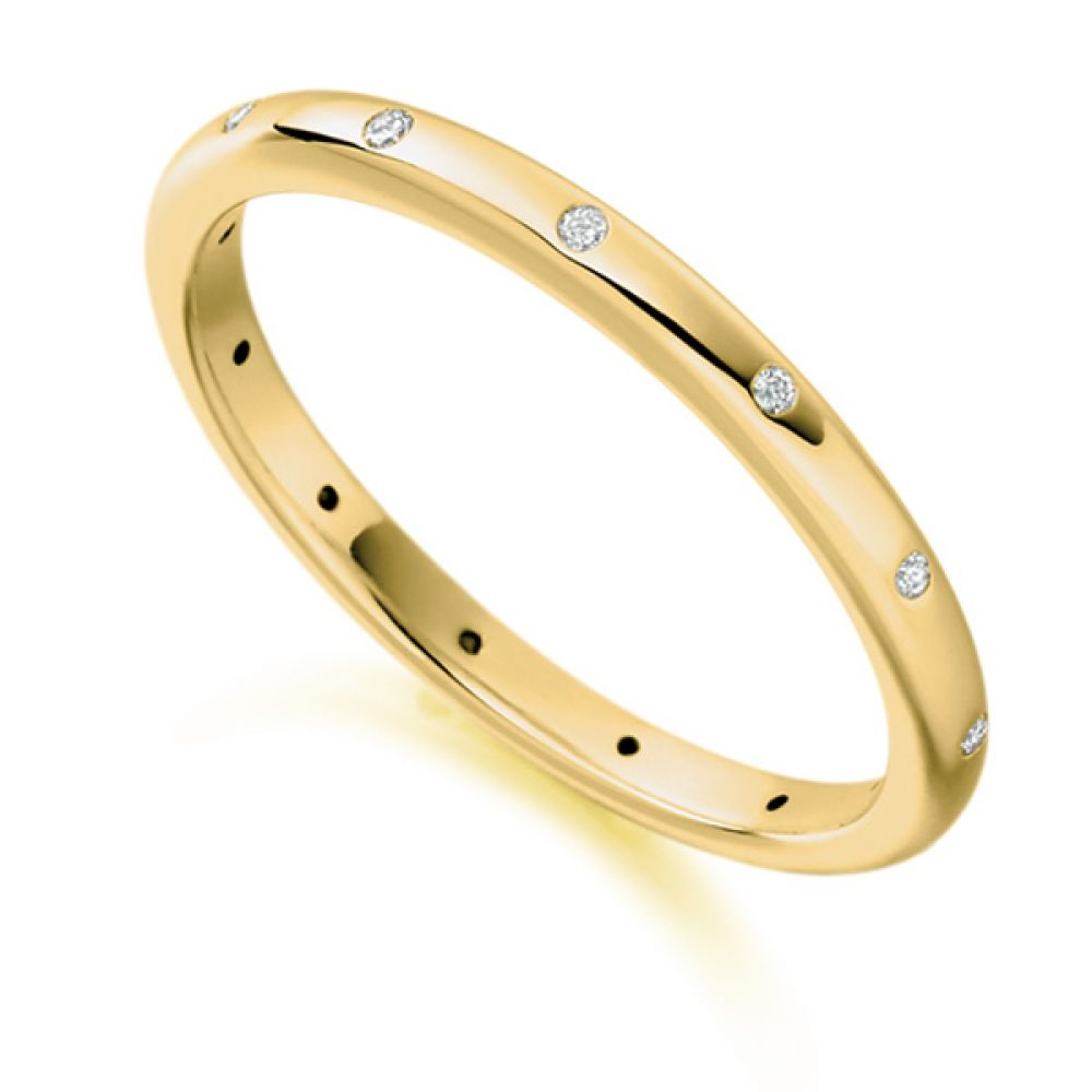 0.06ct Elegant Fully Flush Set 2mm Diamond Band In Yellow Gold