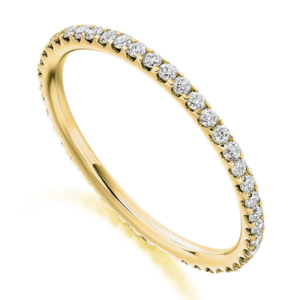 0.50cts Finely Claw Set Full Diamond Eternity Ring In Yellow Gold