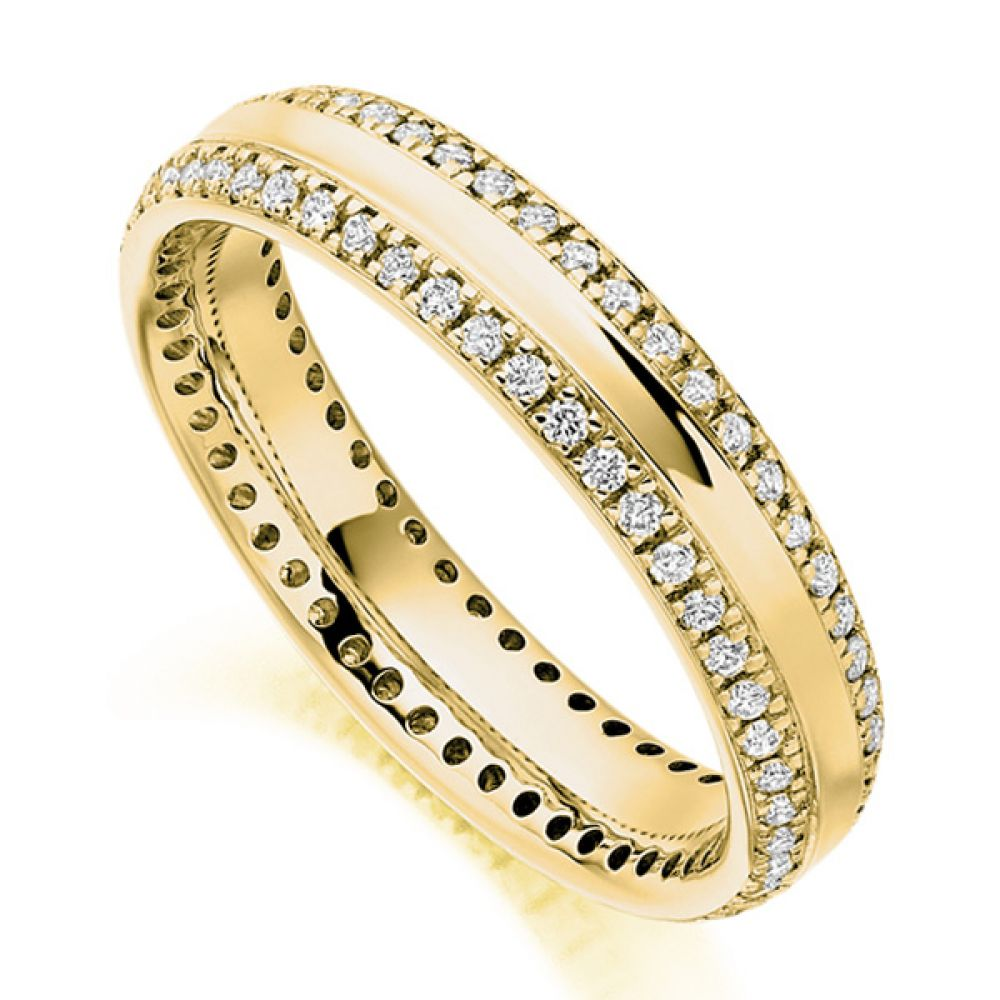 0.50cts Double Edge Diamond Set Full Eternity Ring In Yellow Gold