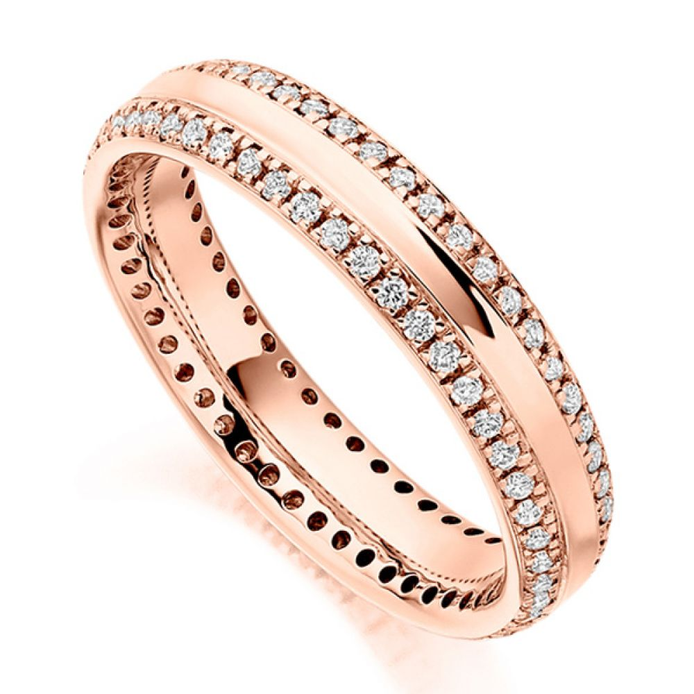 0.50cts Double Edge Diamond Set Full Eternity Ring In Rose Gold