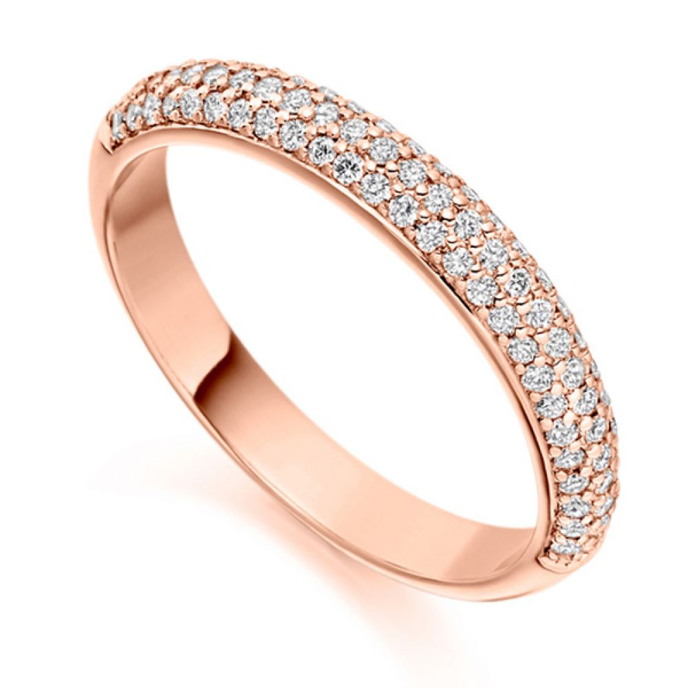 0.40cts Pavé Set Diamond Half Eternity Ring In Rose Gold