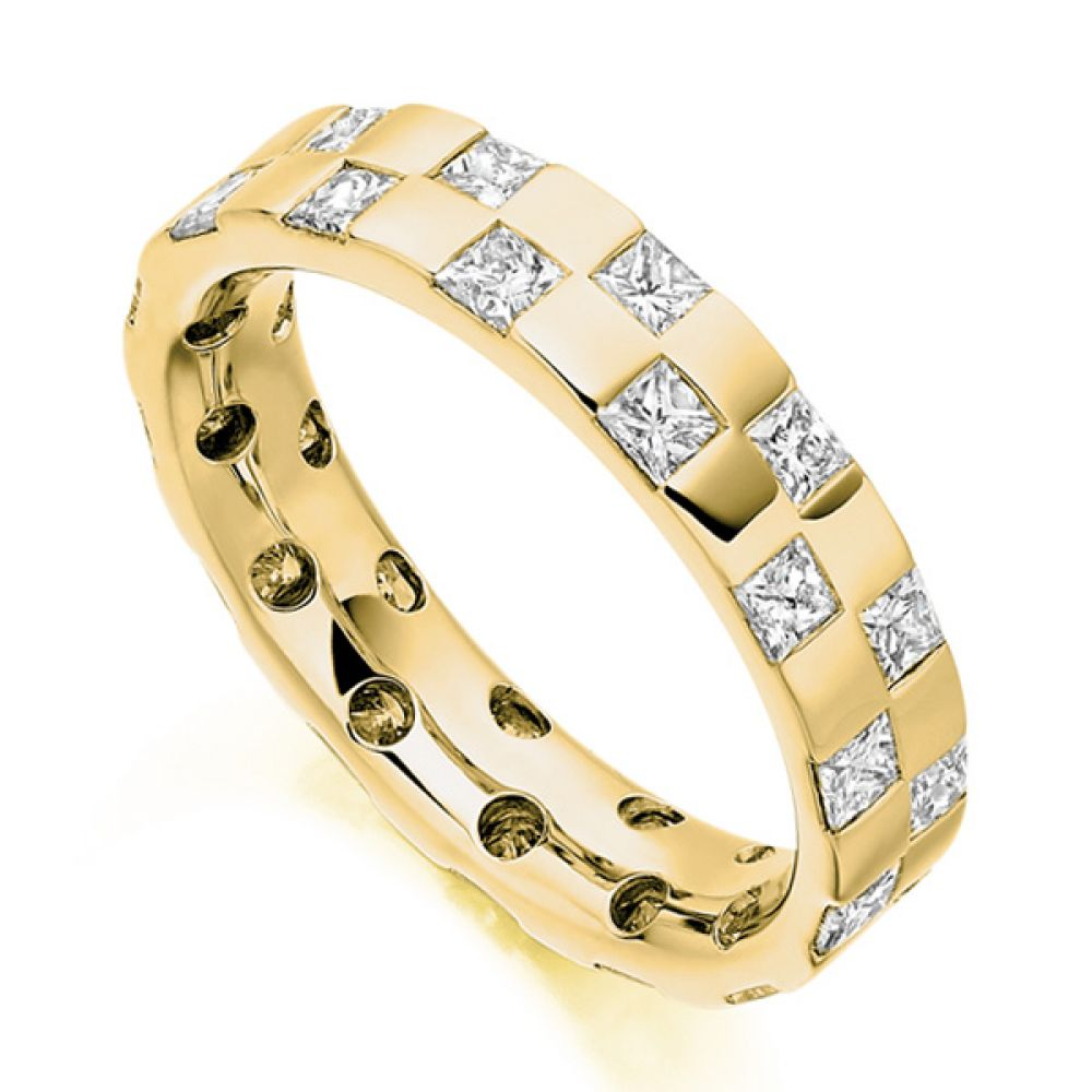 1.65ct Checkerboard Princess Diamond Eternity Ring In Yellow Gol
