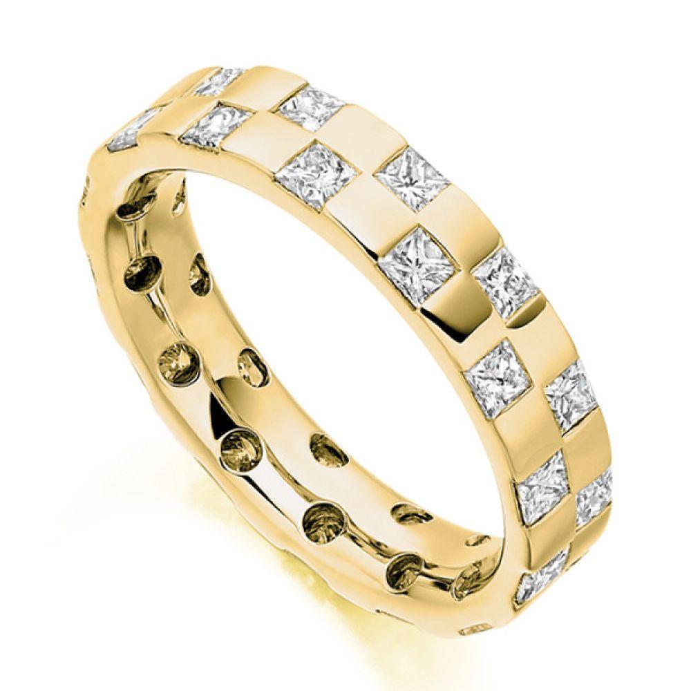 1.65ct Checkerboard Princess Diamond Eternity Ring In Yellow Gol