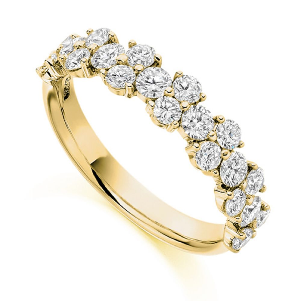 1.20ct Round Diamond Cluster Half Eternity Ring In Yellow Gold