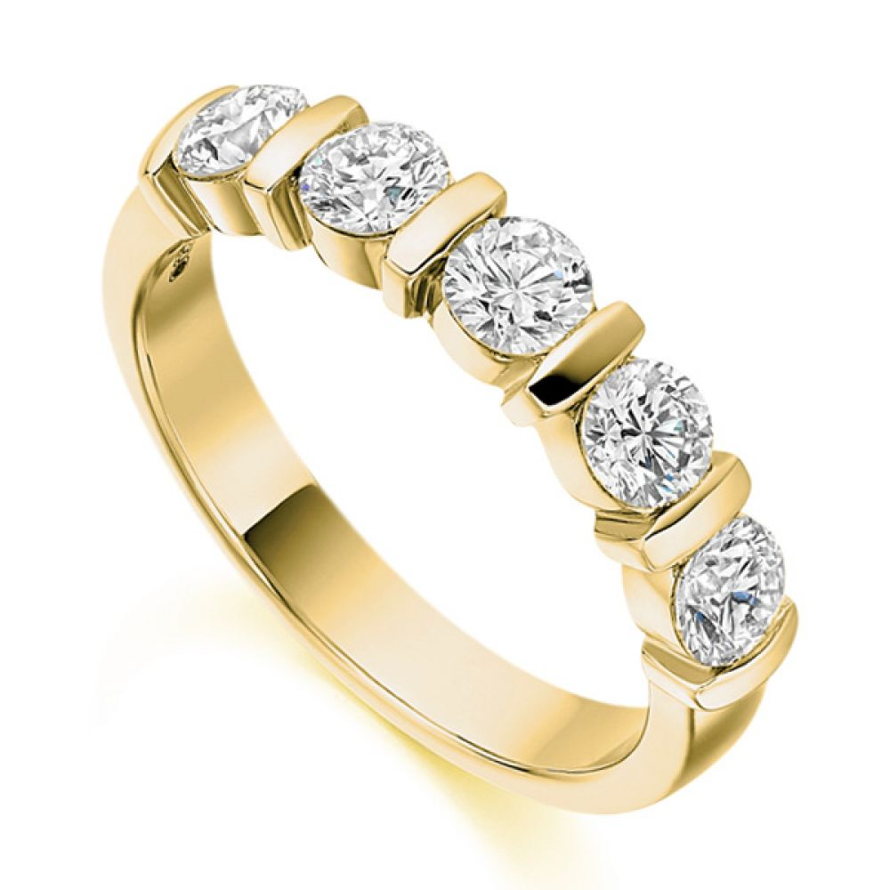 1 Carat Bar Set 5 Stone Diamond Half Eternity Ring In Yellow Gold