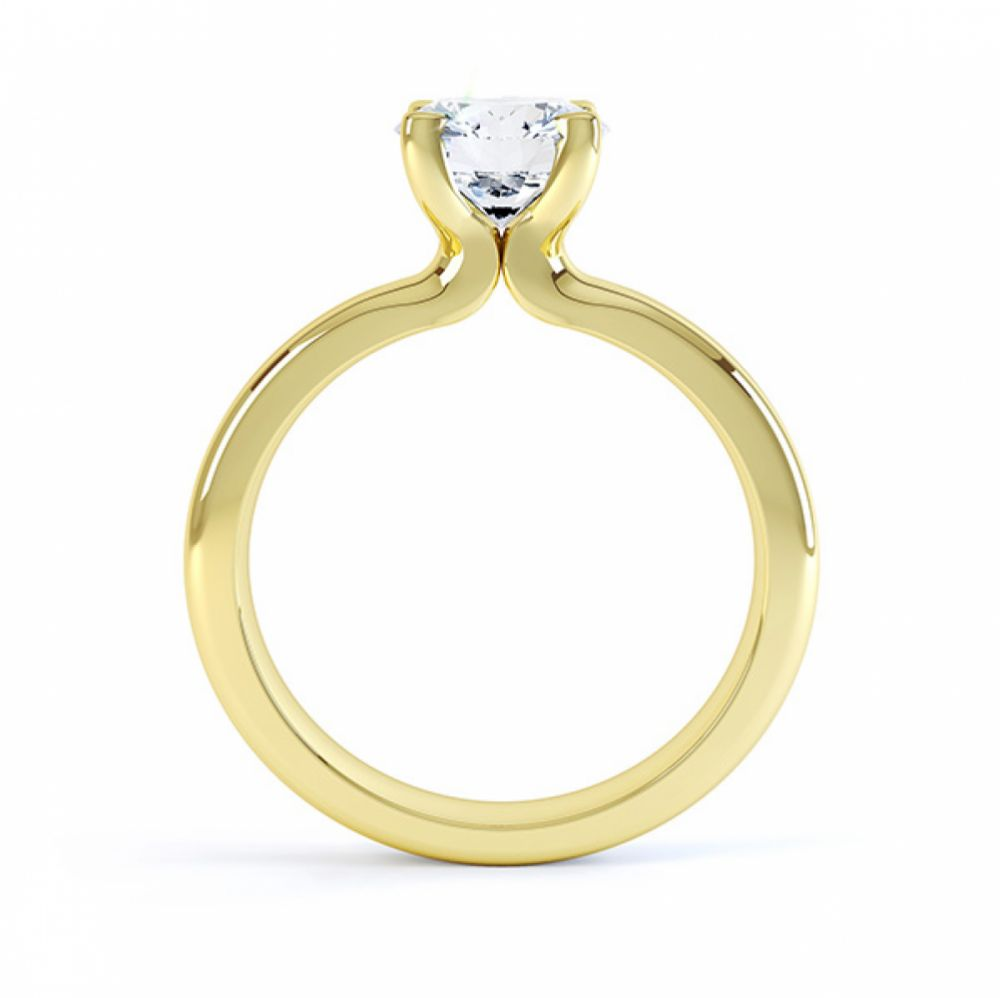 Side view of the swan 4 claw solitaire engagement ring yellow