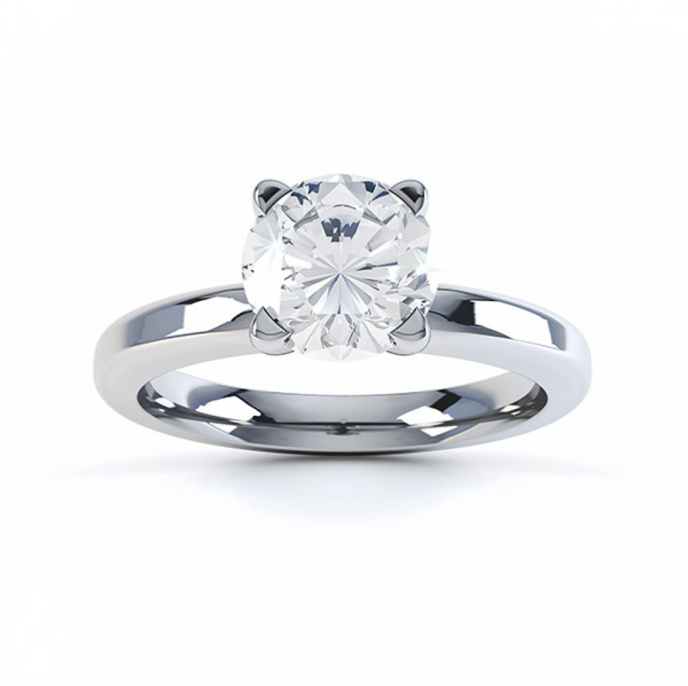 Top view of the swan 4 claw solitaire engagement ring white gold