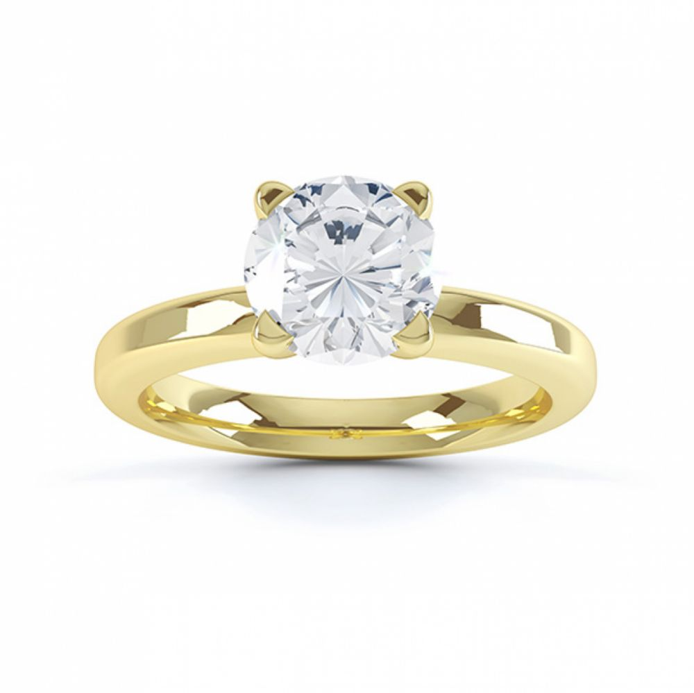 Top view of the swan 4 claw solitaire engagement ring yellow gold