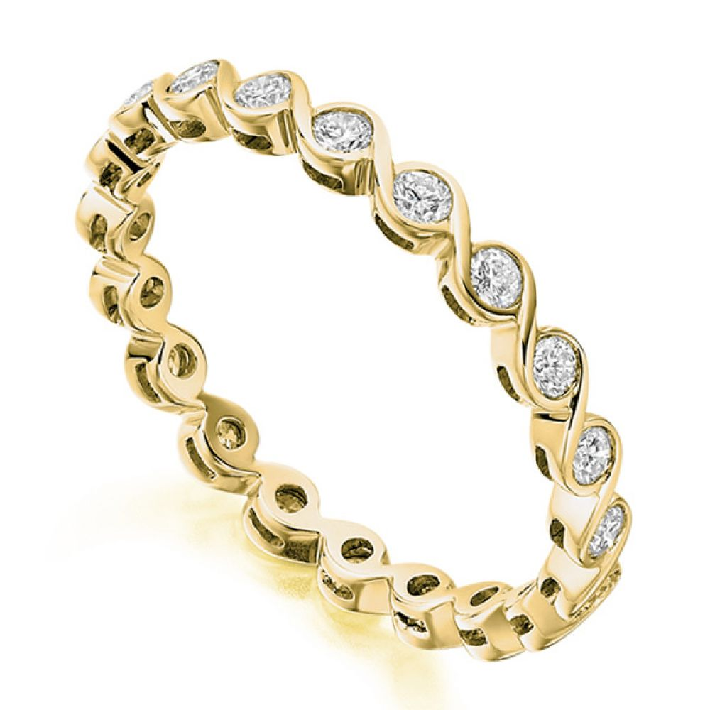 0.50cts Elegant 2.4mm Rub-Over Full Eternity Ring In Yellow Gold