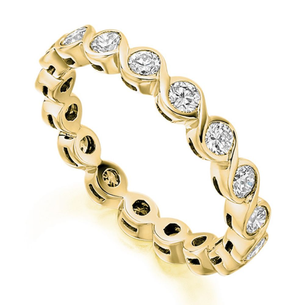 1 Carat Bezel Set Round Diamond Full Eternity Ring In Yellow Gold