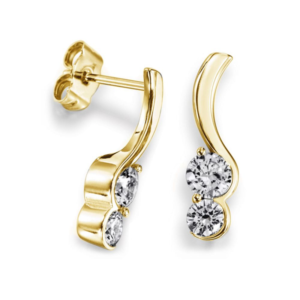 Sweeping 2 Stone Round Diamond Drop Earrings yellow Gold
