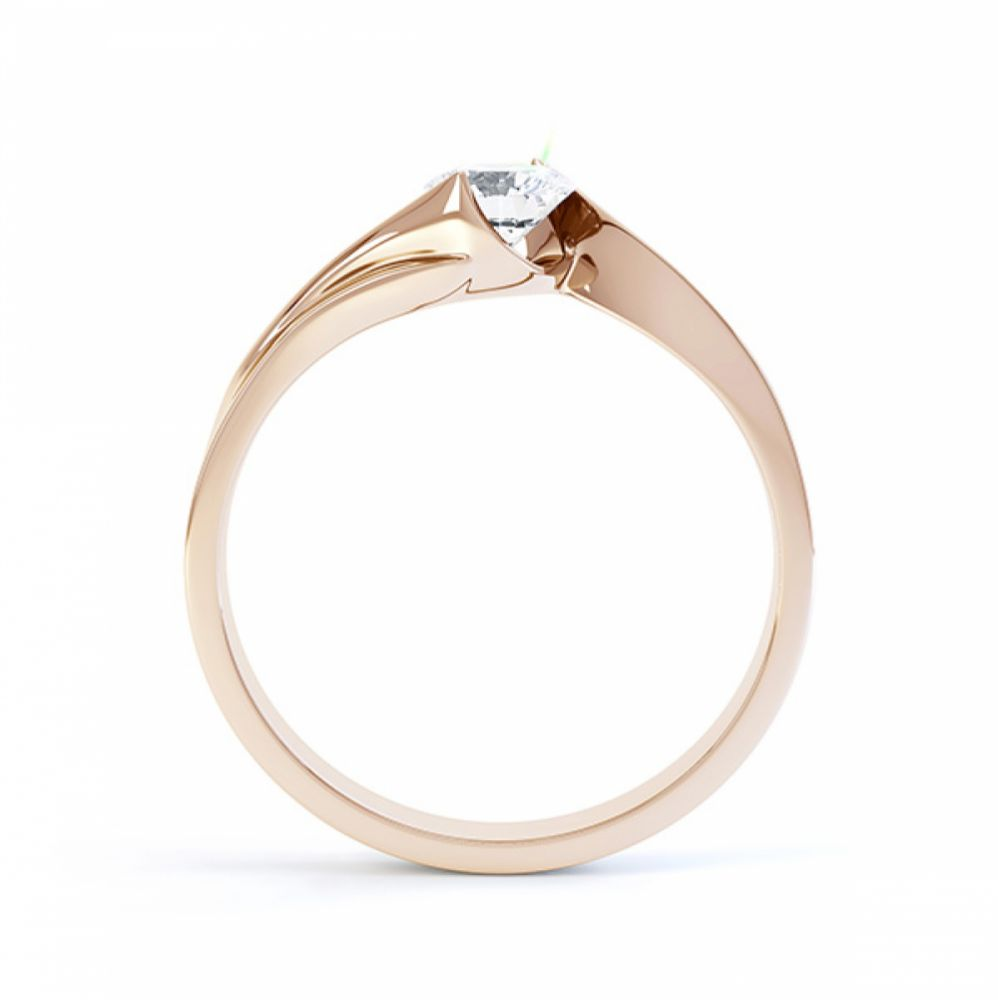 Unity R1D078 solitaire engagement ring in yellow gold side view