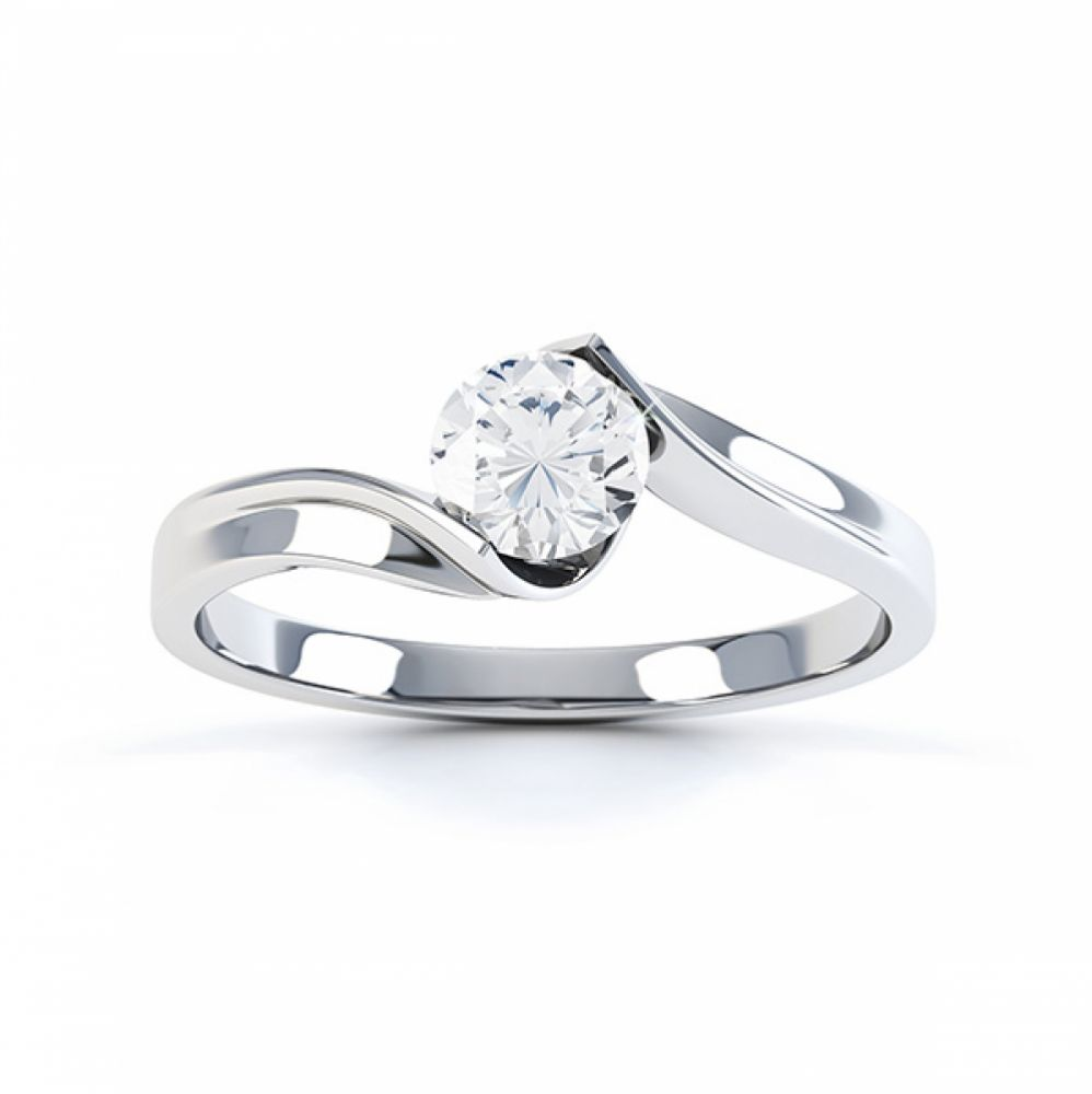 Top view in white gold of the unity solitaire engagement ring