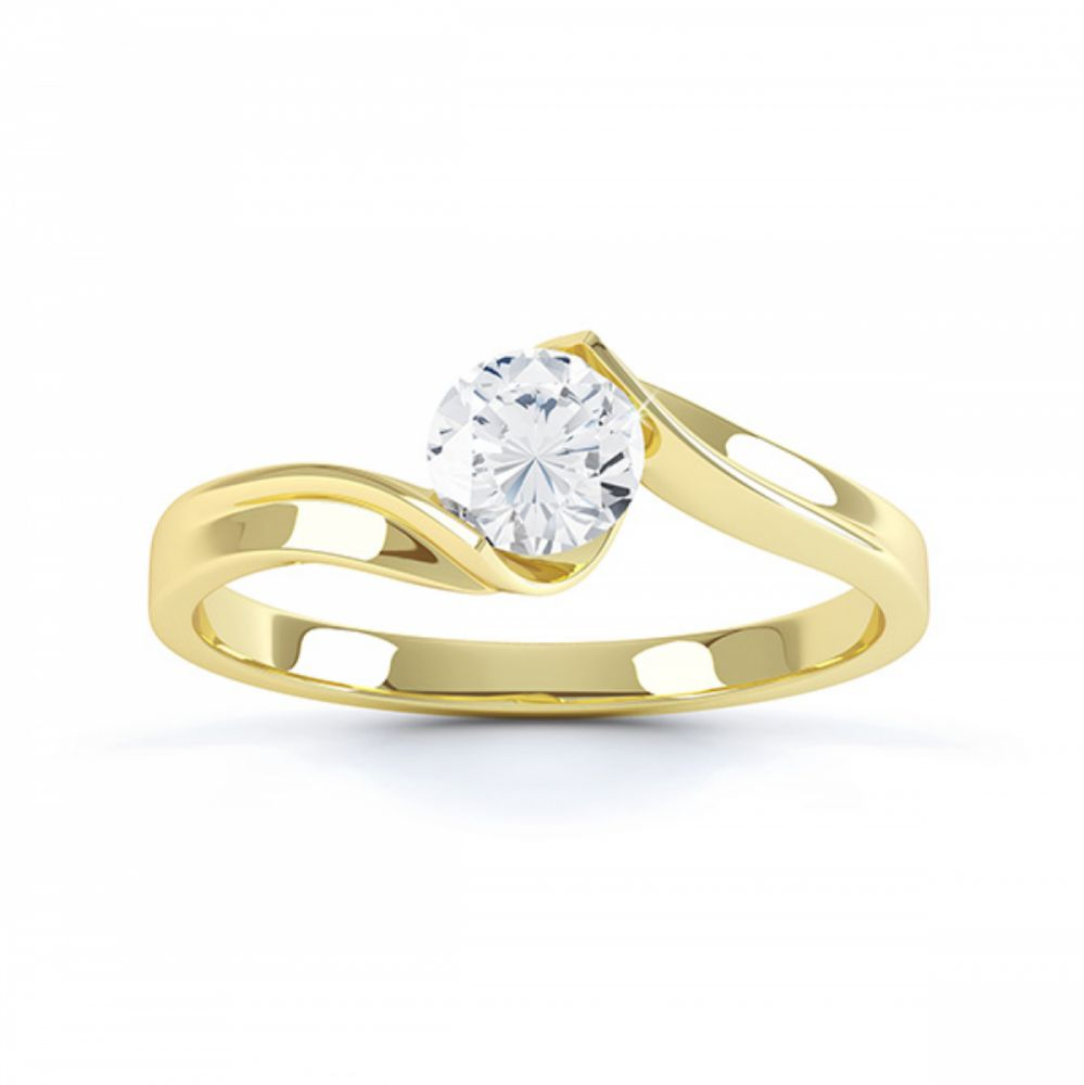 Top view of the Unity solitaire engagement ring in yellow gold