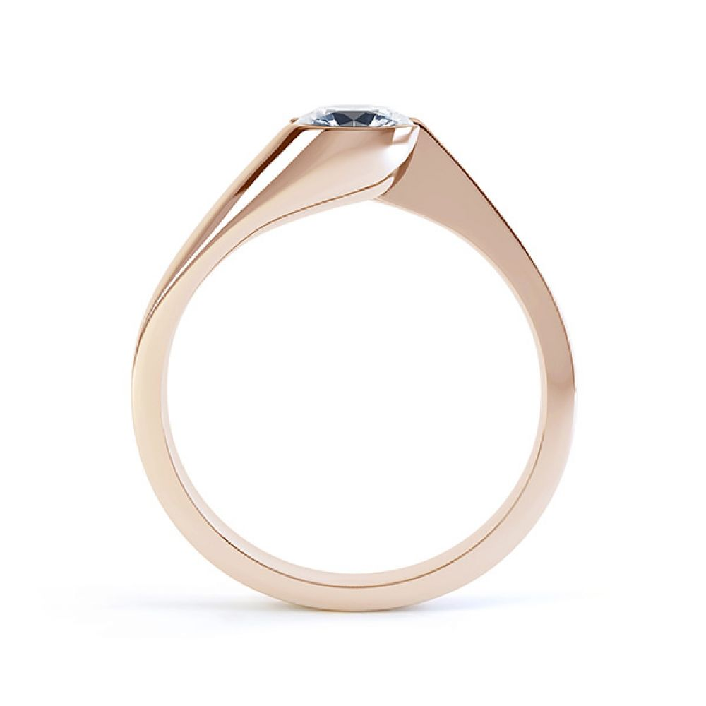 Zoe bezel set diamond engagement ring side view rose gold
