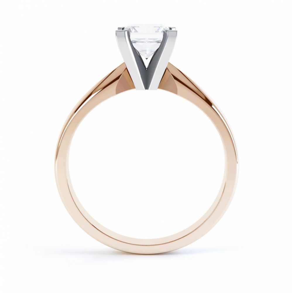 4 Claw Princess cut engagement ring Aurora side view rose gold