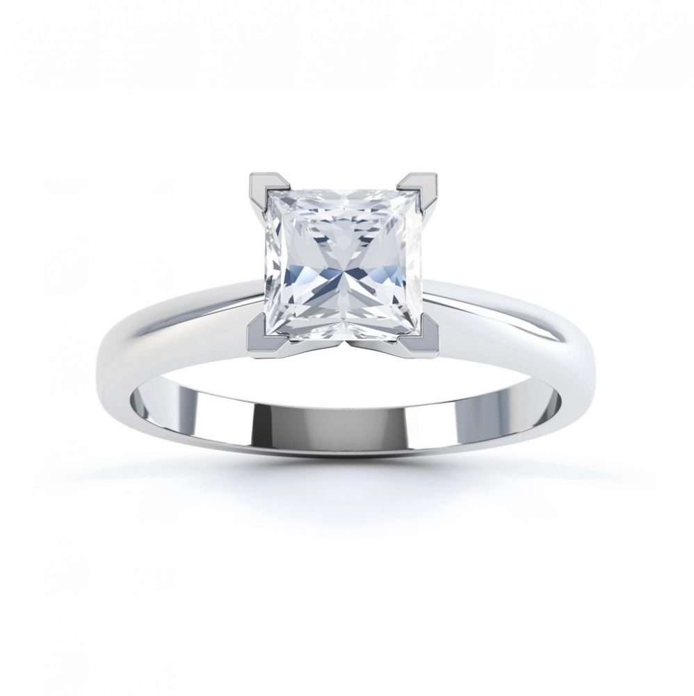 4 Claw Princess cut engagement ring Aurora top view white gold