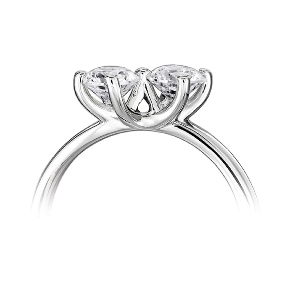 Twirl 2 stone engagement ring side view white gold