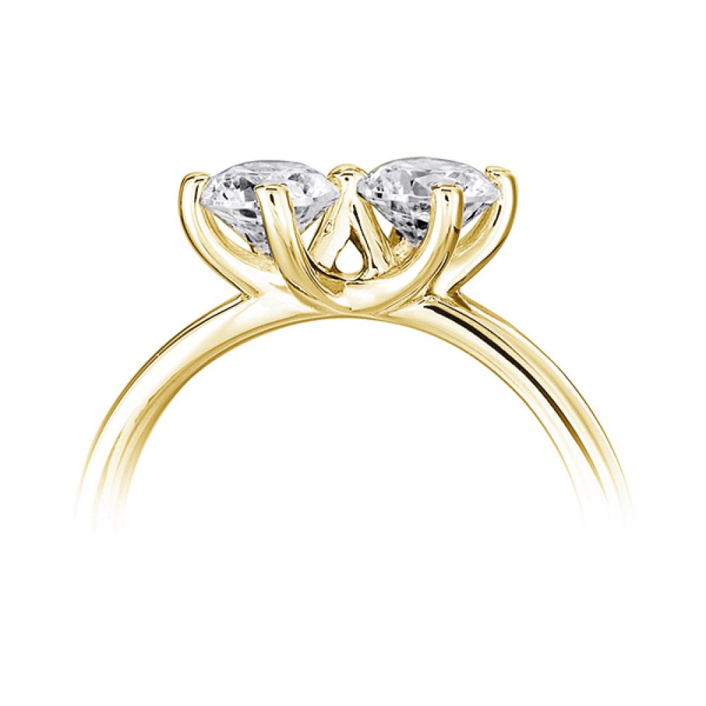 Twirl 2 stone engagement ring side view yellow gold