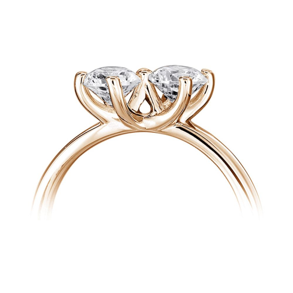 Twirl 2 stone engagement ring side view rose gold