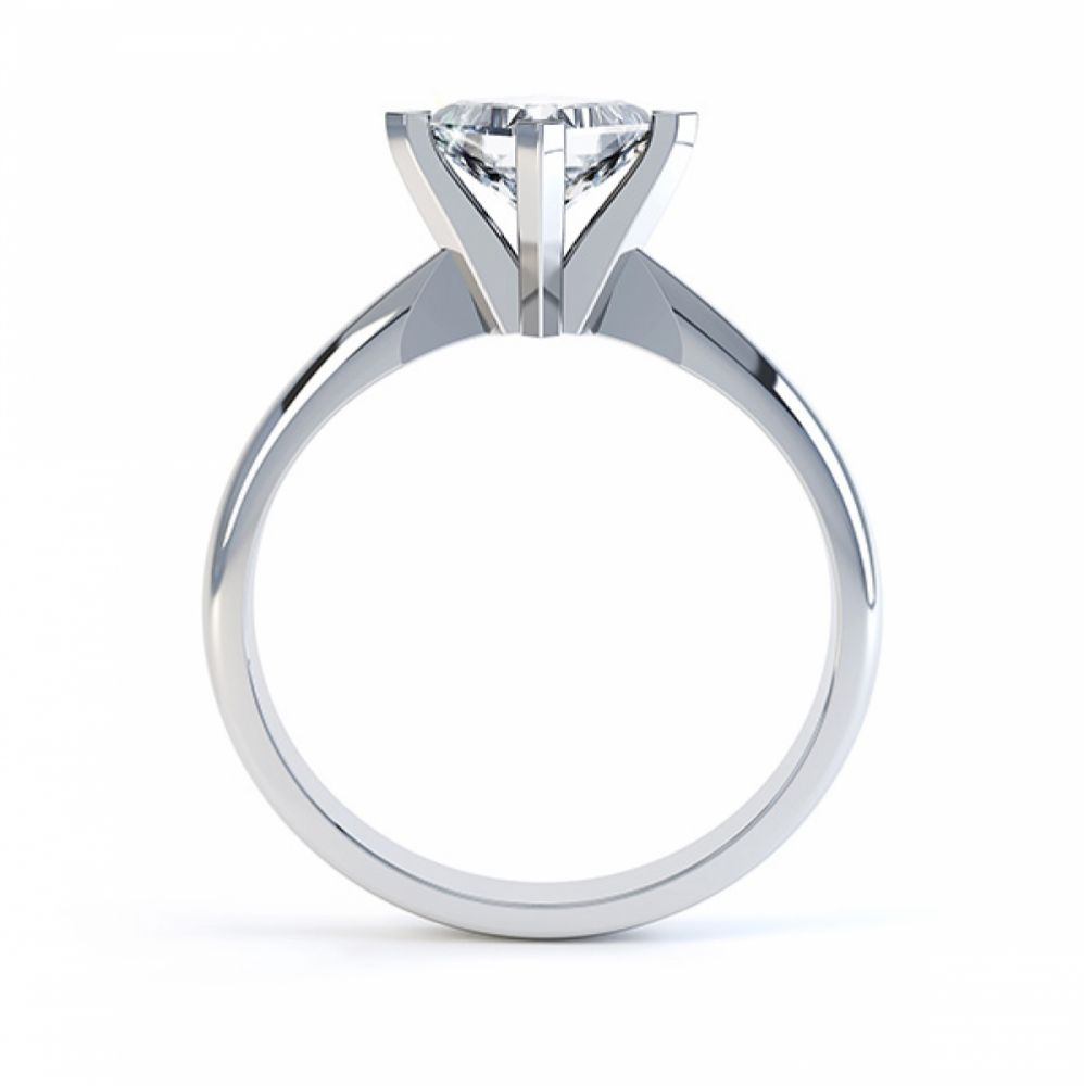 Tiffany Style Compass Set 4 Claw Diamond Ring Side View White Gold