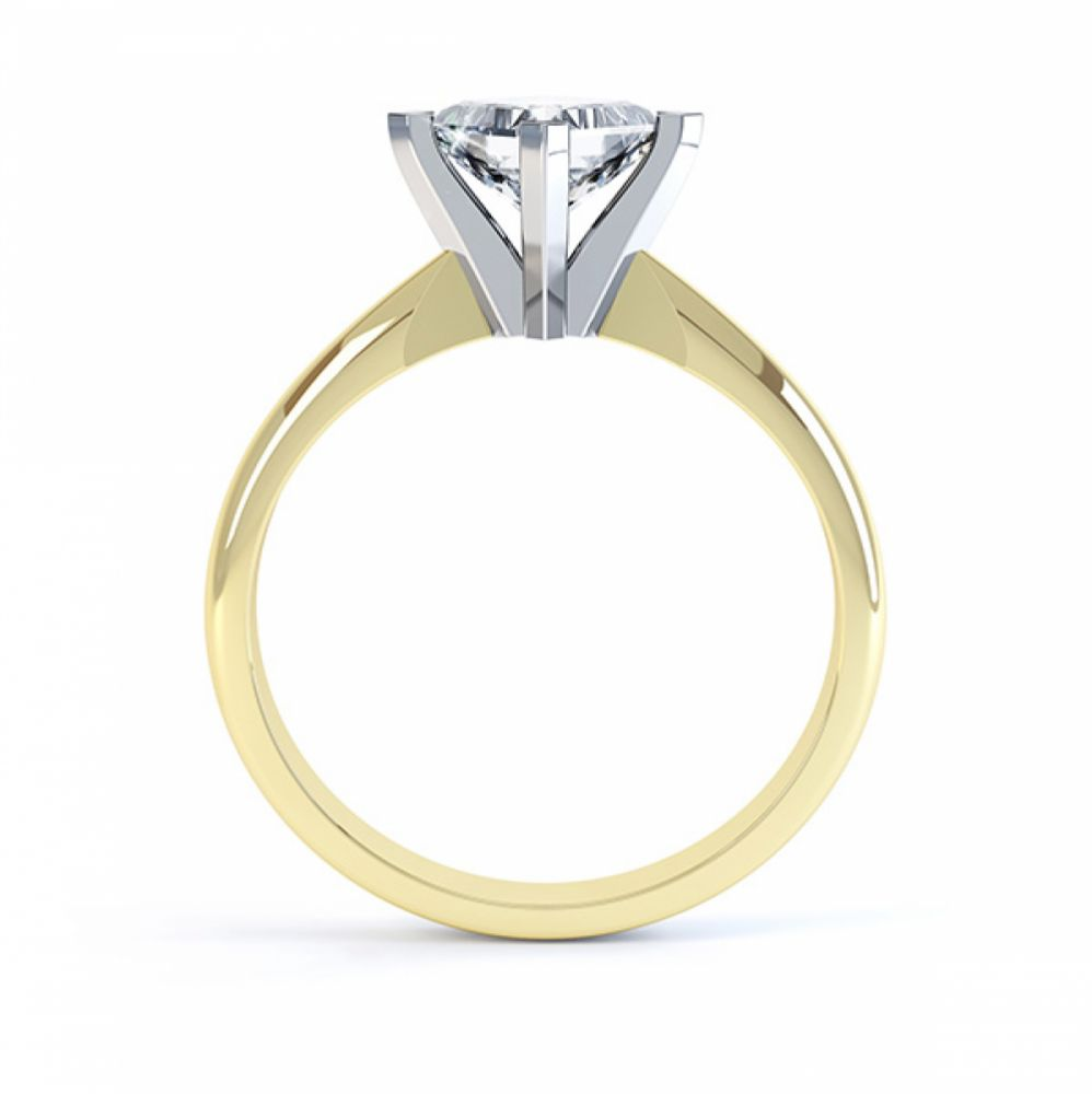 Tiffany Style Compass Set 4 Claw Diamond Ring Side View Yellow Gold