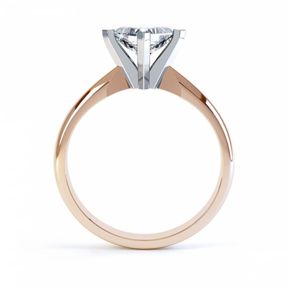 Tiffany Style Compass Set 4 Claw Diamond Ring Side View Rose Gold