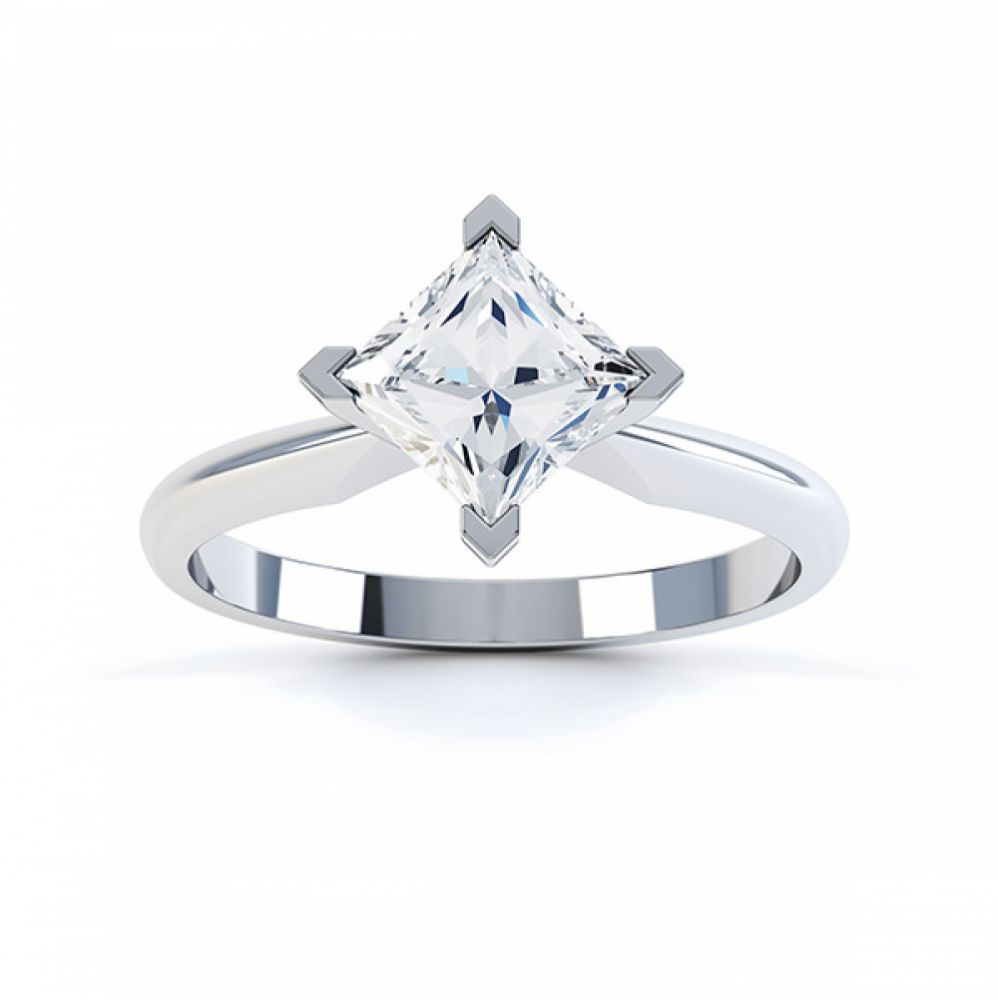 Tiffany Style Compass Set 4 Claw Diamond Ring Top View White Gold