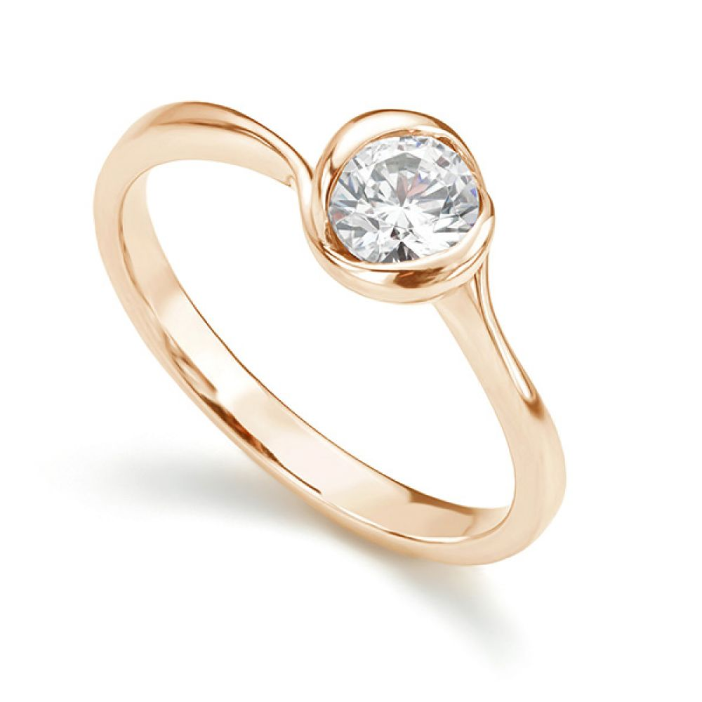 Rosebud Round Solitaire Engagement Ring Rose Gold 0.50cts
