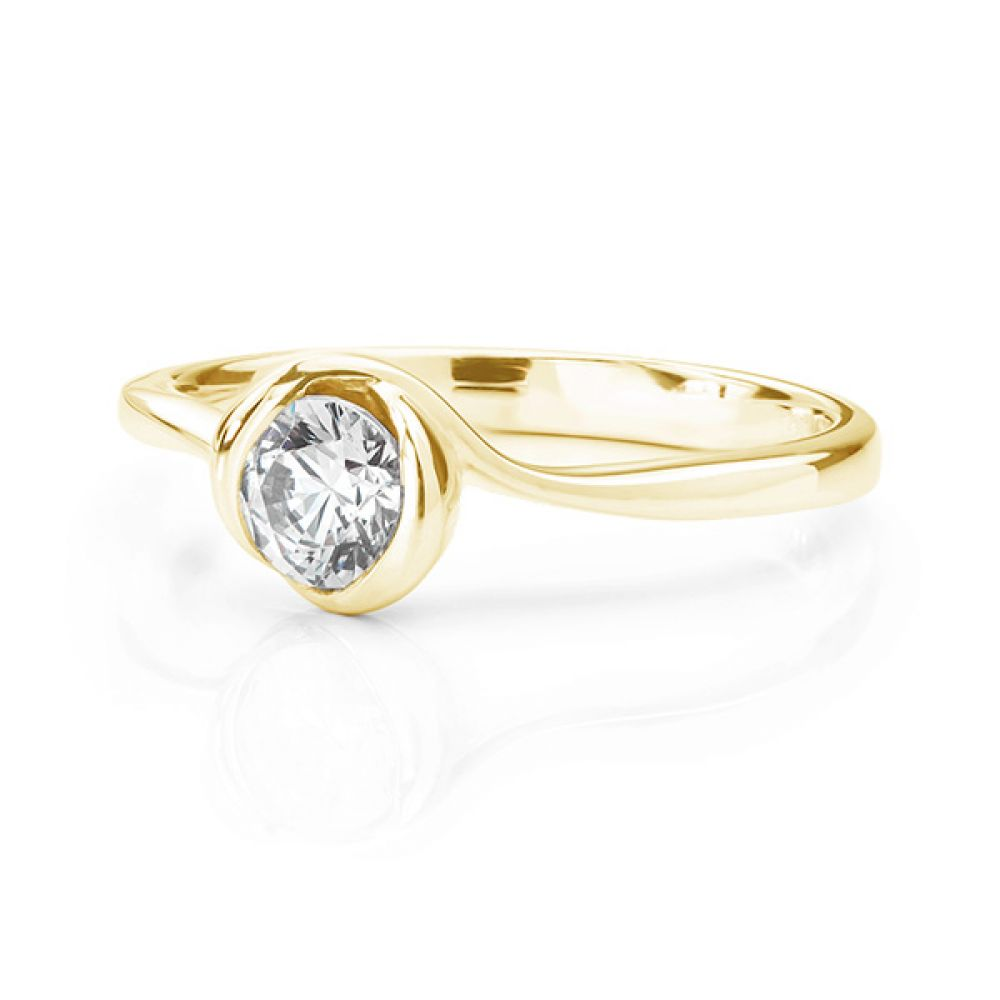 Rosebud engagement ring yellow gold lying down
