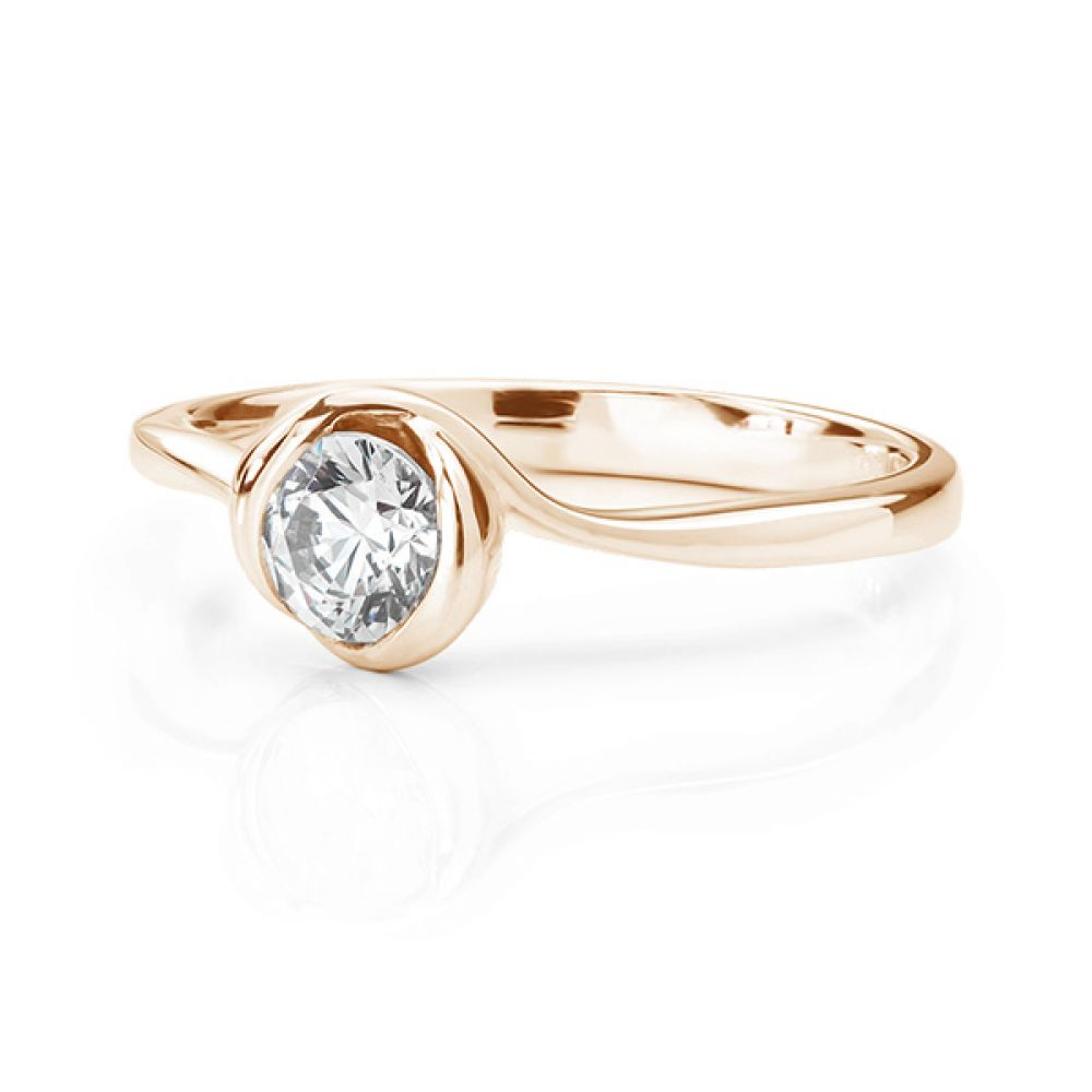 Rosebud engagement ring rose gold lying down