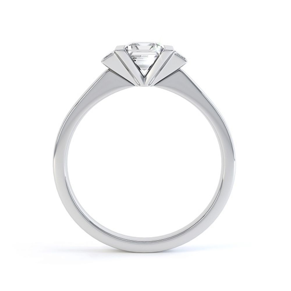 Art Deco engagement ring side view in Platinum