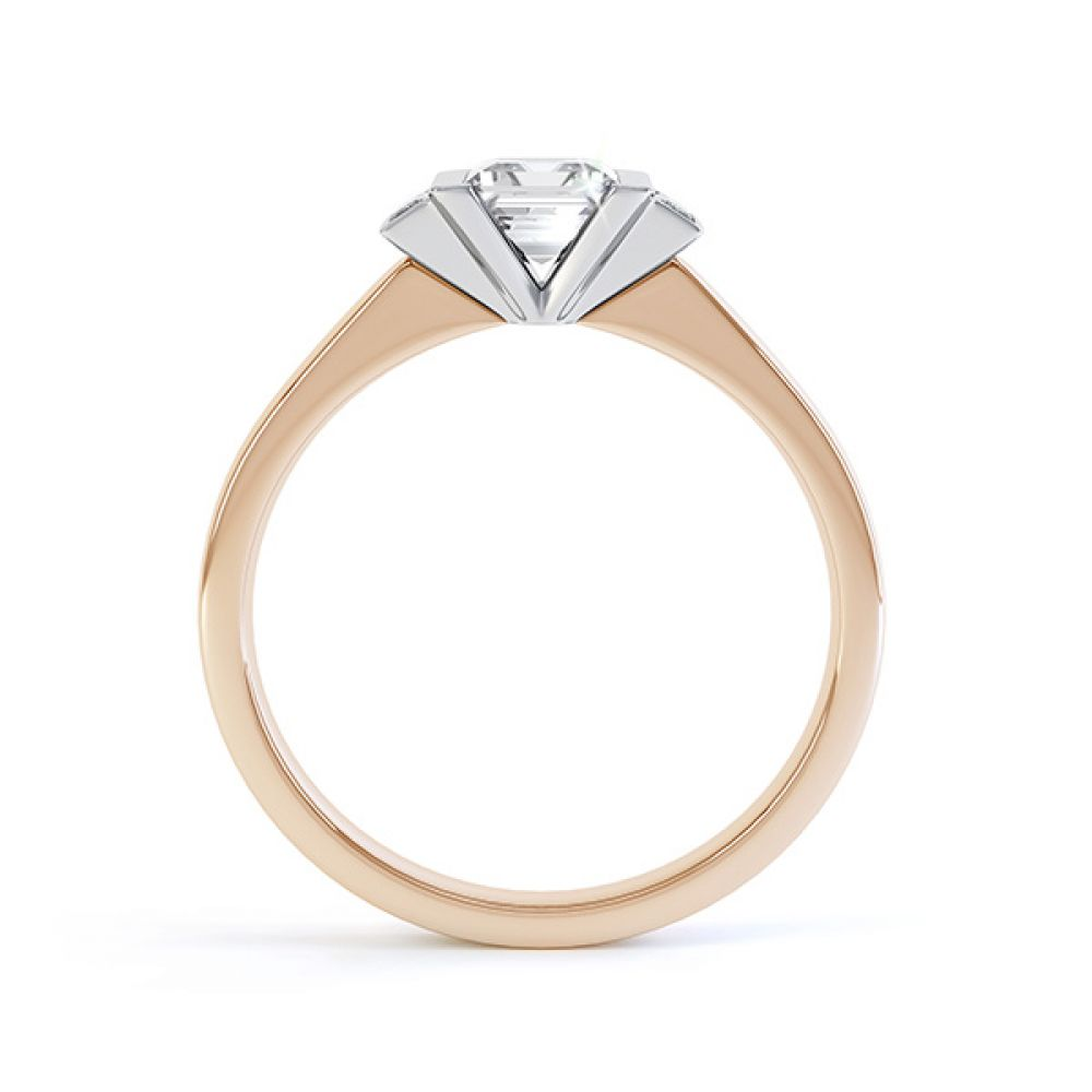 Art Deco engagement ring side view in 18ct Rose Gold