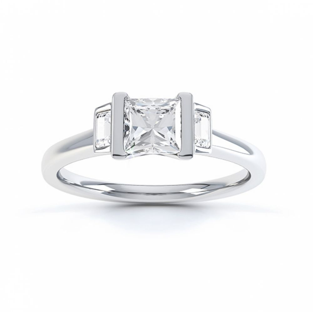 Art Deco engagement ring shown in Fairtrade White Gold