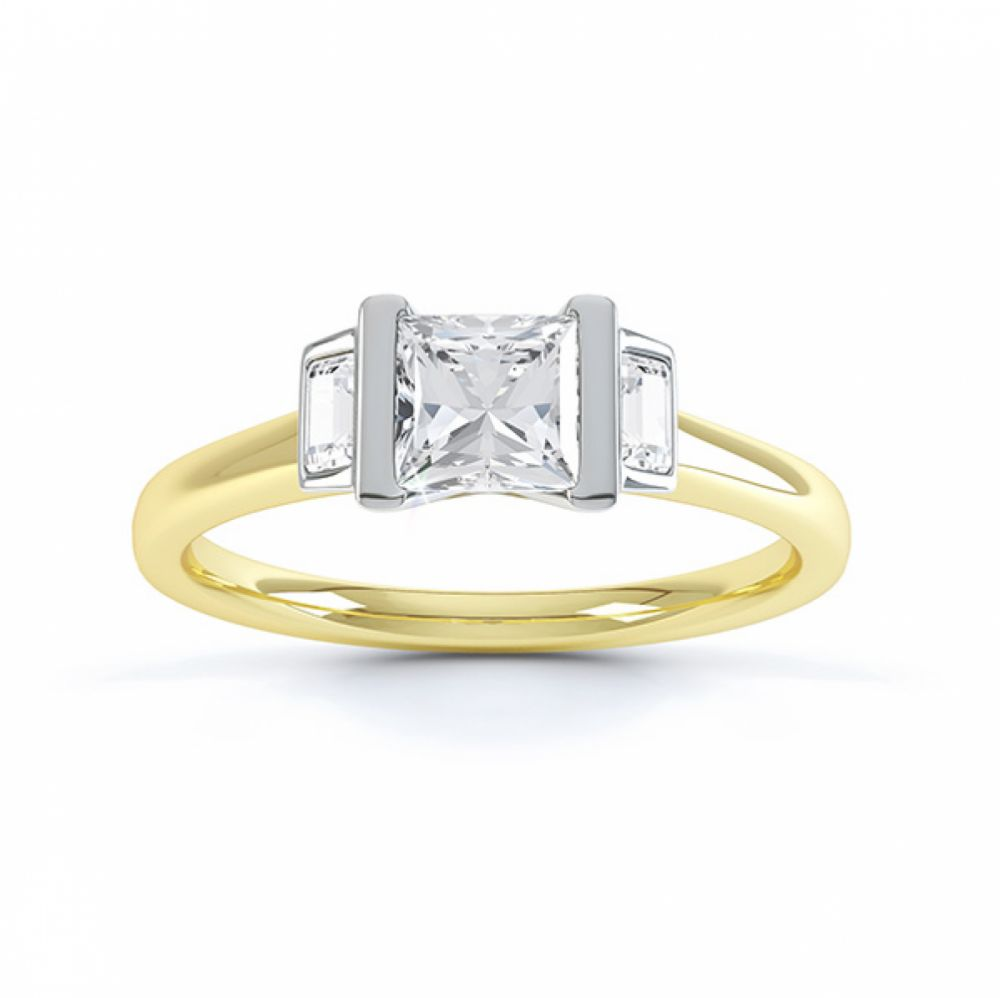 Art Deco engagement ring shown in Fairtrade Yellow and White Gold