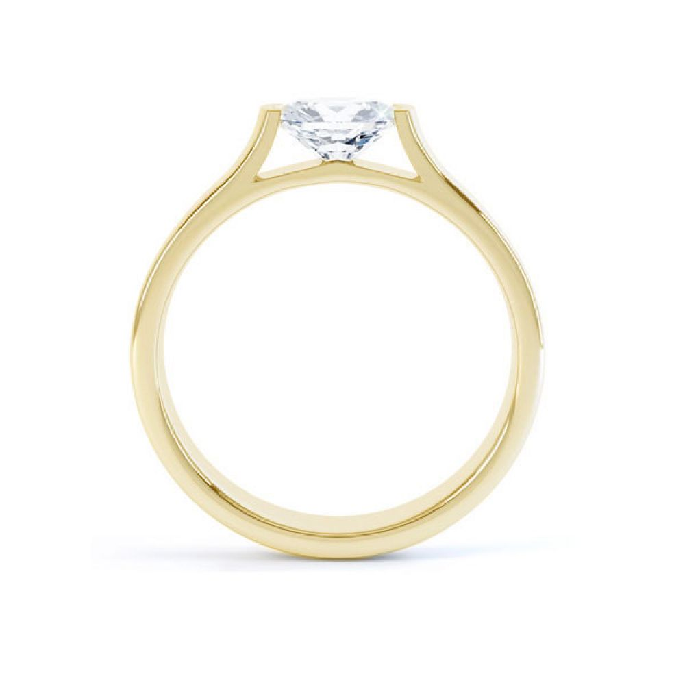 Sideways Oval East-West Engagement Side view Yellow Gold