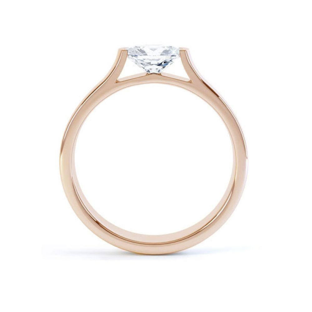 East-West Engagement Side view Rose Gold