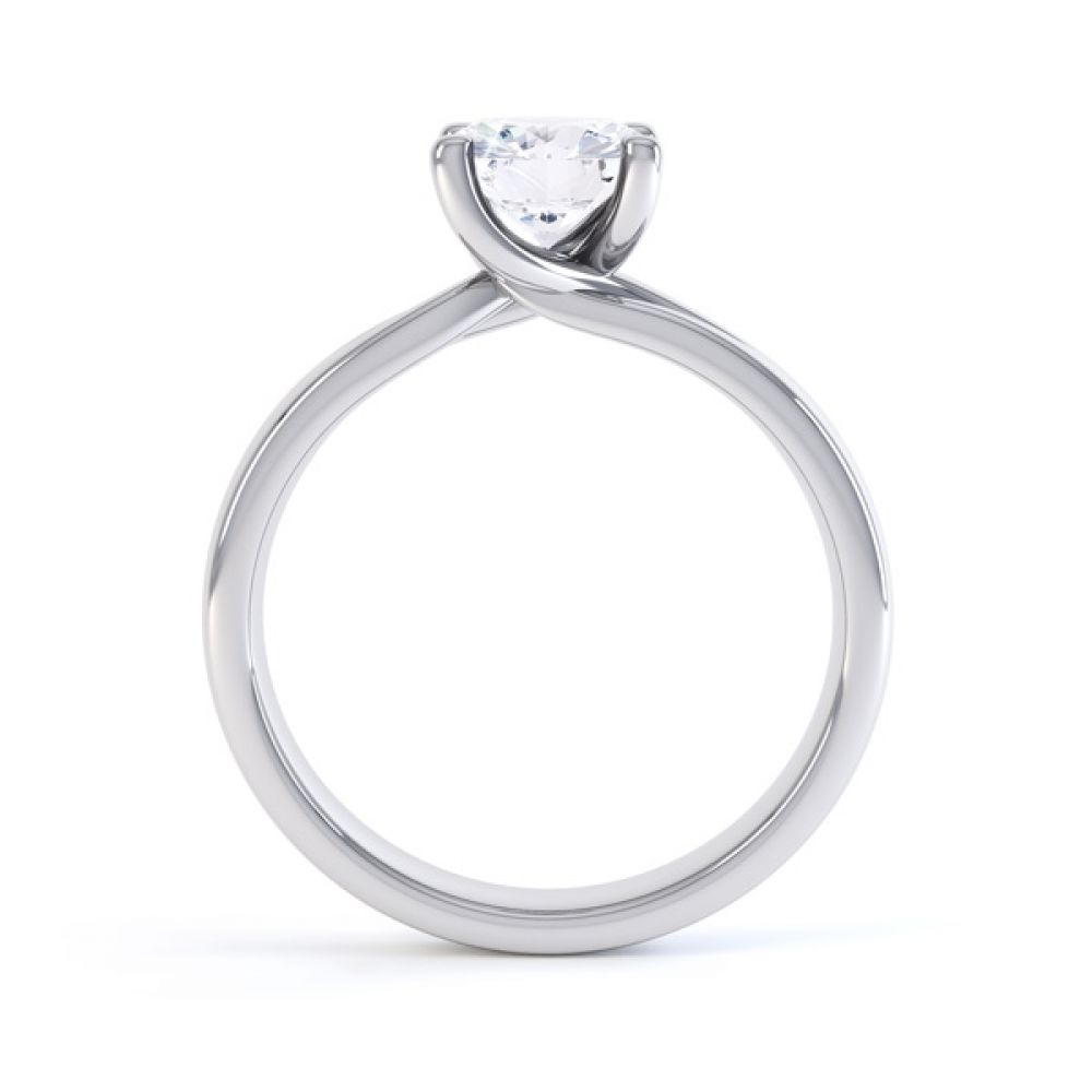 Sway twist diamond engagement ring with double shoulder detail side view in white gold