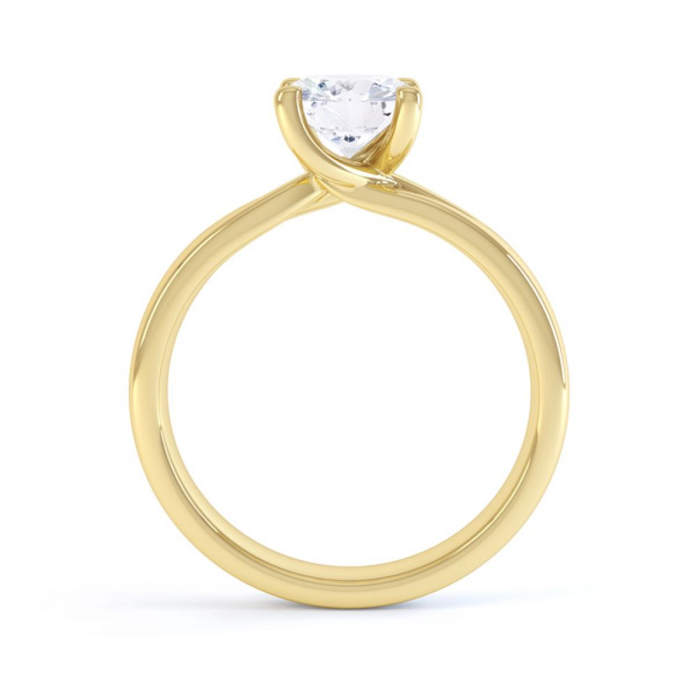 Sway four claw twist diamond engagement ring yellow gold side view
