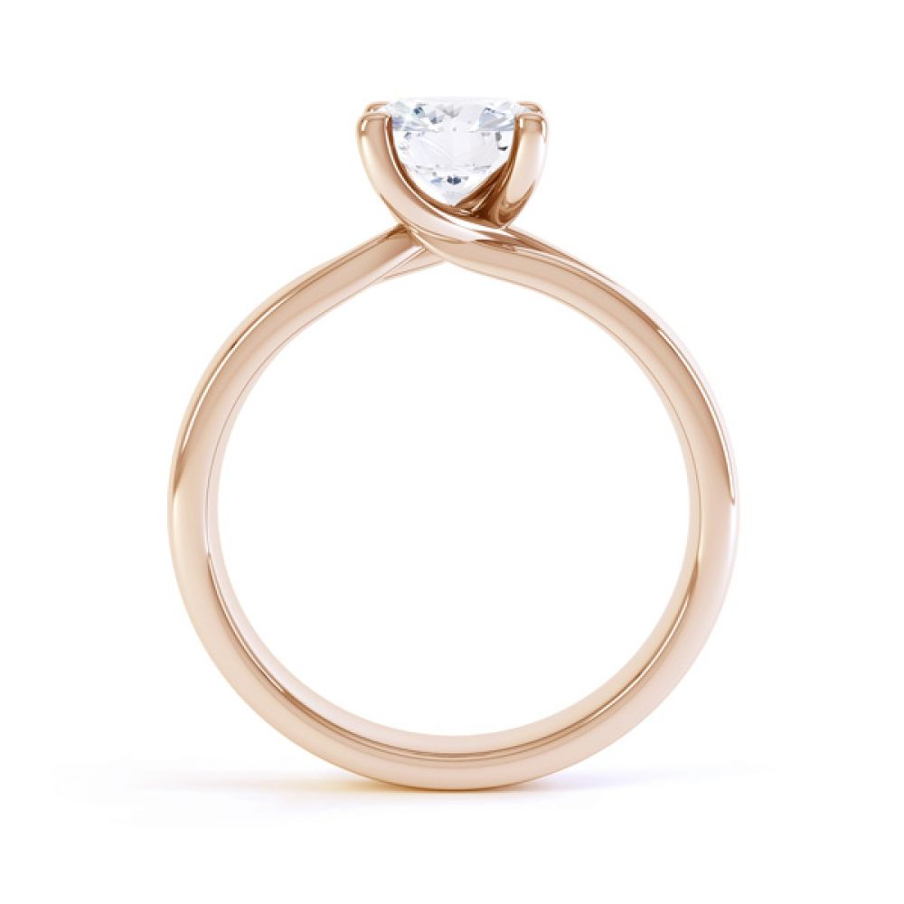 Sway four claw twist diamond engagement ring rose gold side view