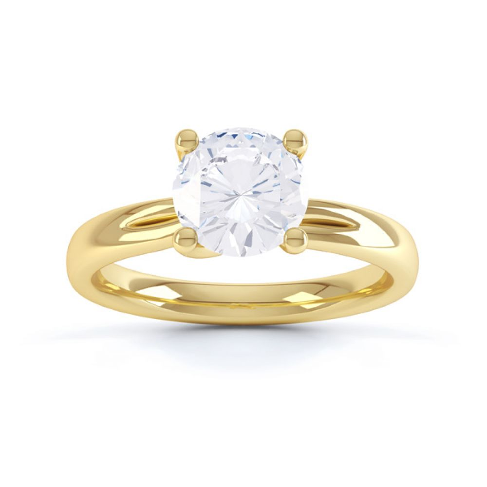 Sway four claw twist diamond engagement ring yellow gold top view