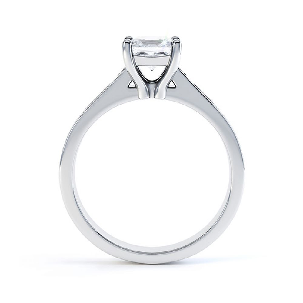 Fliss 4 claw Princess cut diamond engagement ring diamond shoulders side view in white gold