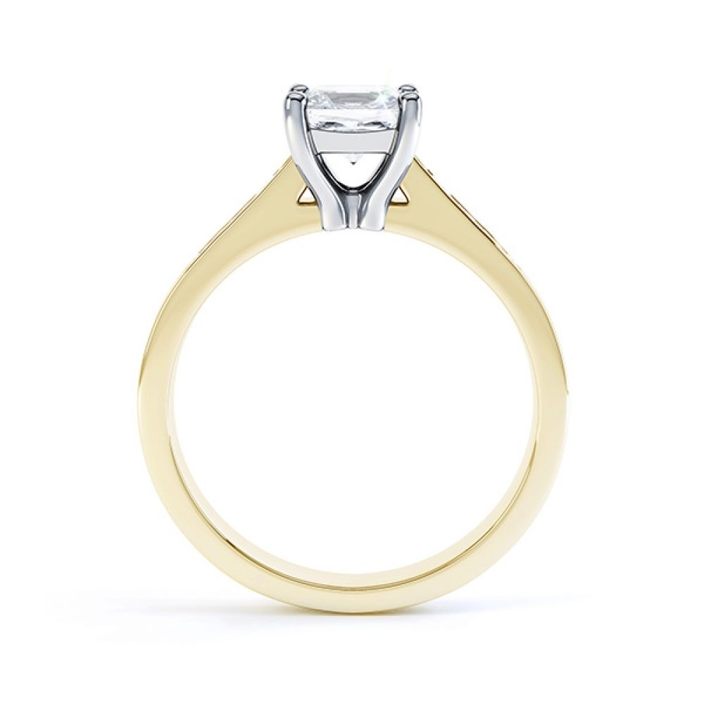 Fliss 4 claw Princess cut diamond engagement ring diamond shoulders side view in yellow gold