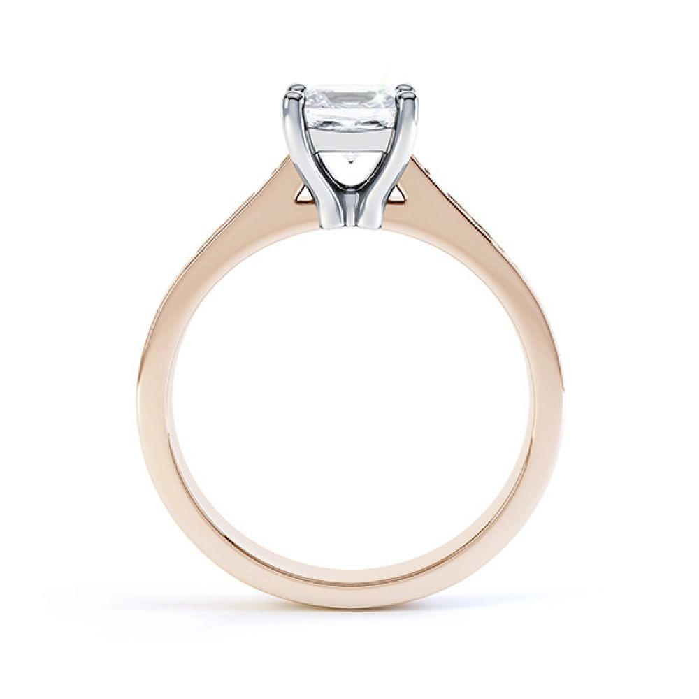 Fliss 4 claw Princess cut diamond engagement ring diamond shoulders side view in rose gold