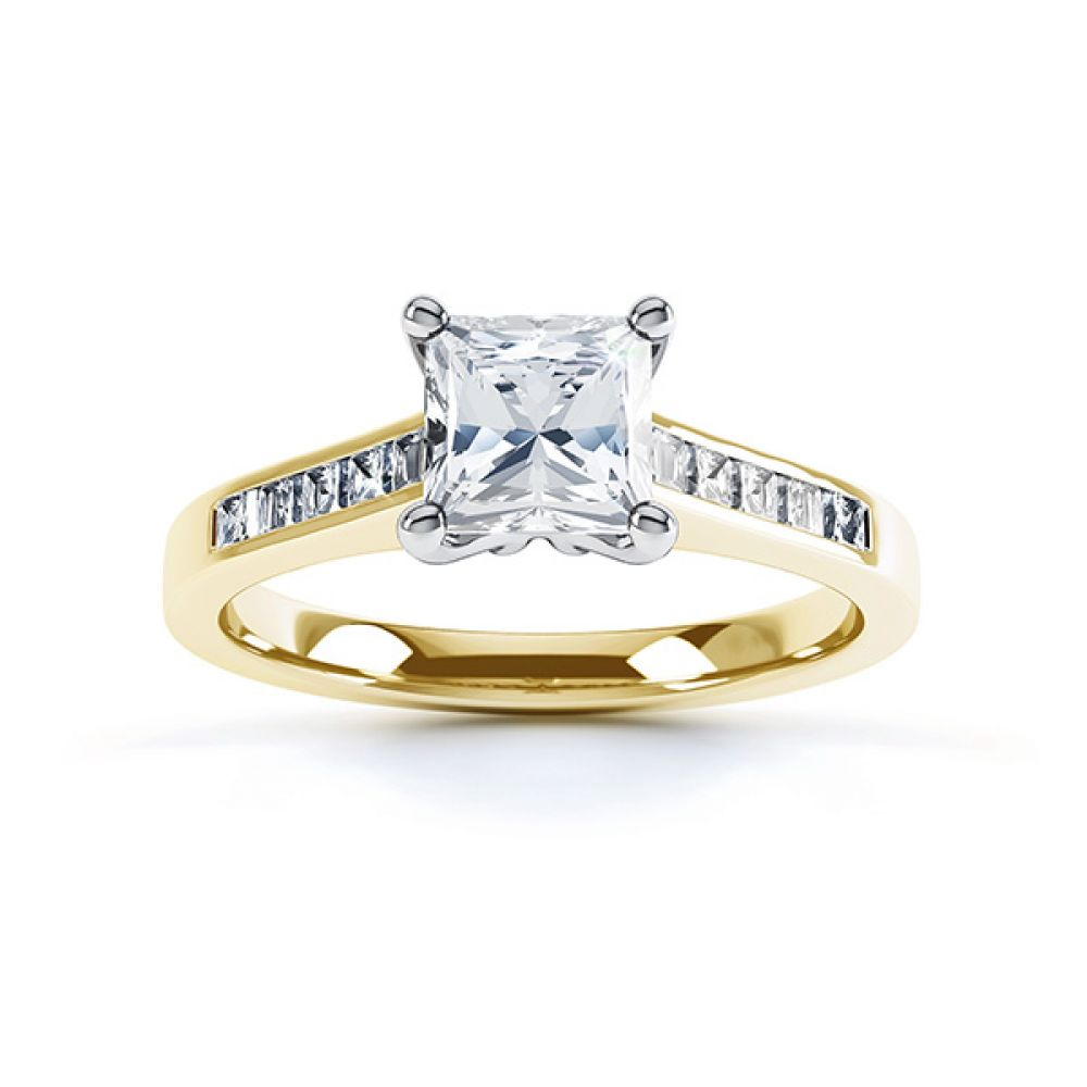 Fliss 4 claw Princess cut diamond engagement ring diamond shoulders top view in yellow gold
