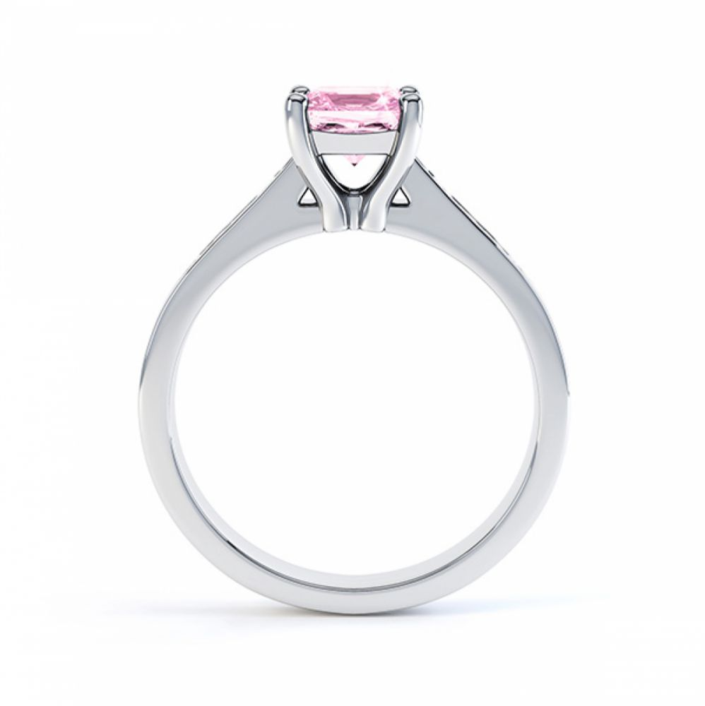 Pink Fliss Princess diamond engagement ring with diamond shoulders white gold pink sapphire side view